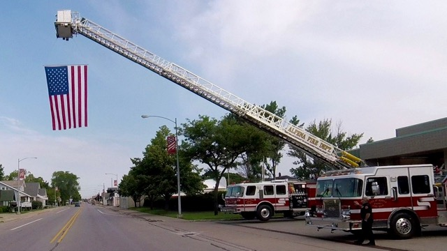 FIretruck and Flag